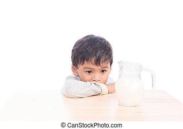 Cute little boy bored with milk