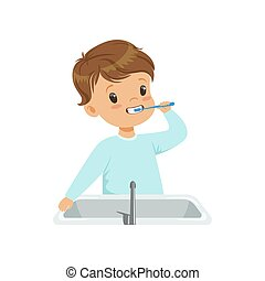 Cute little boy brushing his teeth, kid caring for teeth in bathroom vector Illustration on a white background