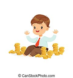 Cute little boy businessman sitting surrounded by stacks of...