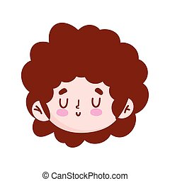 cute little boy cartoon character face isolated icon image