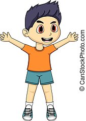 Boy Cartoon - Cute Little Boy Cartoon - full color
