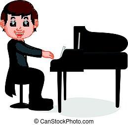 Cute little boy cartoon playing piano