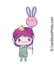 cute little boy cartoon with chick on head and balloon of rabbit