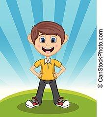 Cute Little boy cartoon with smile