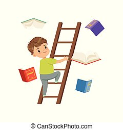 Cute little boy character climbing up wooden ladder, books falling next to him vector Illustration on a white background