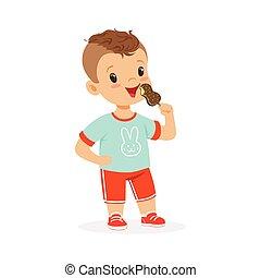 Cute little boy character eating ice cream cartoon vector Illustration