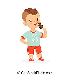 Cute little boy character eating ice cream cartoon vector Illustration