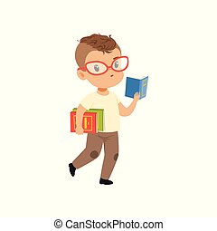 Cute little boy character in glasses walking and reading a book vector Illustration on a white background