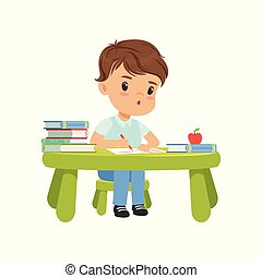 Cute little boy character sitting at the table and writing in a notebookvector Illustration on a white background
