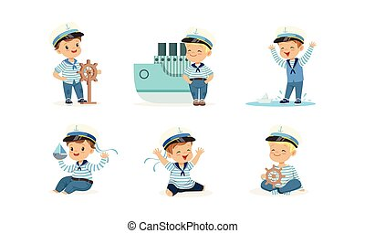 Cute Little Boy Character Wearing Mariner Uniform Vector Illustrations Set