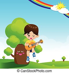 Cute Little boy child playing a music guitar on tree with happiness