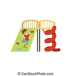 Cute little boy climbing wall on playground vector Illustration on a white background