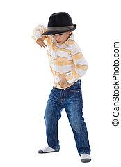 cute little boy dancing
