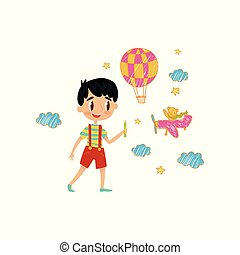 Cute little boy drawing with color pencils on the wall, young artist, kids activity routine vector Illustration