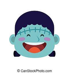 cute little boy dressed as a frankenstein head character