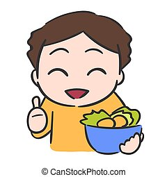 Cute little boy eats vegetable