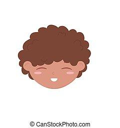 cute little boy face cartoon icon white background