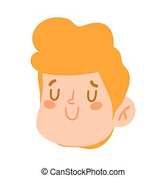 cute little boy face character cartoon isolated design icon