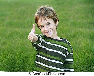 Cute Little Boy Giving a Thumbs Up