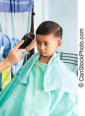 Cute little boy haircut