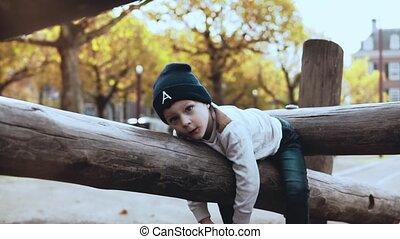 Cute little boy having fun in adventure park. Confused...