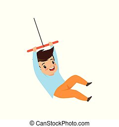 Cute little boy having fun on a rope swing vector Illustration on a white background
