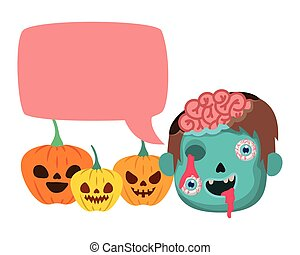 boy head talking with sombie costume and speech bubble vector illustration