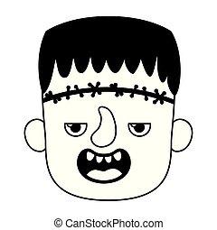 cute little boy head with frankenstein costume