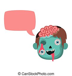 boy head with sombie costume and speech bubble vector illustration design