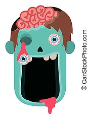 cute little boy head with sombie costume vector illustration design