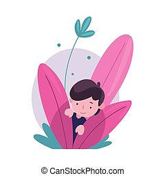 Cute Little Boy Hiding in Bushes, Adorable Kid Peeking Out of Colorful Dense Grass Vector Illustration
