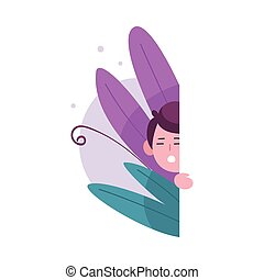 Cute Little Boy Hiding in Bushes, Adorable Kid Peeking Out of Wall Vector Illustration
