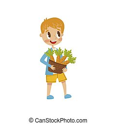 Cute little boy holding basket full of carrots, vector Illustration on a white background
