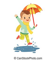 Cute little boy holding colorful umbrella playing in the rain cartoon vector Illustration