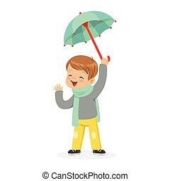 Cute little boy holding umbrella playing in the rain cartoon vector Illustration