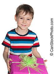 Cute little boy holds a gift box