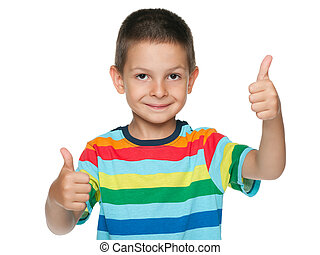 Cute little boy holds his thumbs up