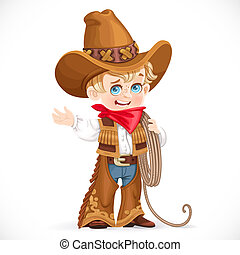 Cute little boy holds the lasso and points to the side isolated on a white background