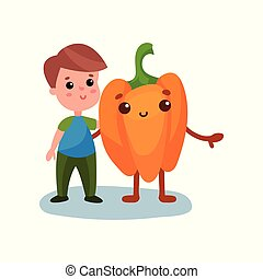 Cute little boy hugging giant pepper vegetable character, best friends, healthy food for kids cartoon vector Illustration