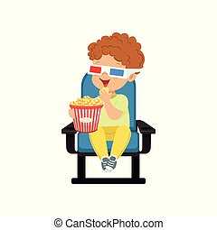 Cute little boy in 3d glasses sitting on a blue chair,...