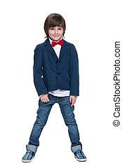 Cute little boy in a blue jacket