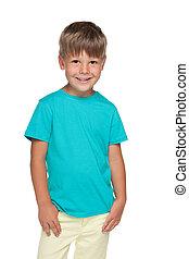 Cute little boy in a blue shirt
