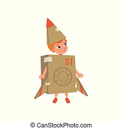Cute little boy in a cardboard costume of airplane vector Illustration on a white background