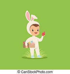 Cute little boy in a white bunny costume holding box of painted eggs, kid having fun on Easter egg hunt vector Illustration
