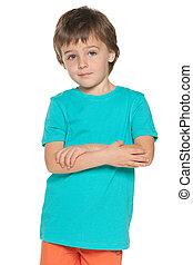 Cute little boy in blue shirt