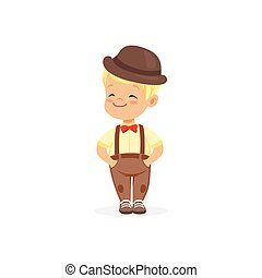Cute little boy in bowler hat, young gentleman dressed up in classic retro style vector Illustration
