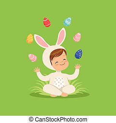 Cute little boy in bunny costume sitting on the grass juggling with painted eggs, kid having fun on Easter egg hunt vector Illustration