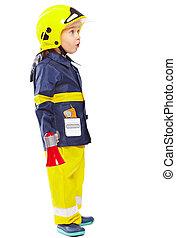 Cute little boy in fireman costume