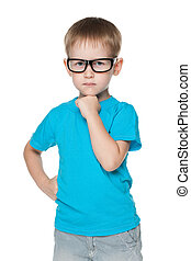 Cute little boy in glasses