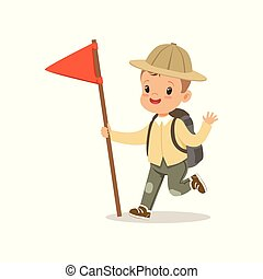 Cute little boy in scout costume with backpack and red flag, outdoor camp activity vector Illustration